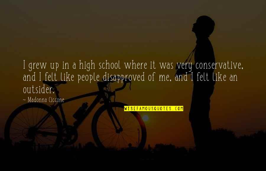High School Is Like Quotes By Madonna Ciccone: I grew up in a high school where