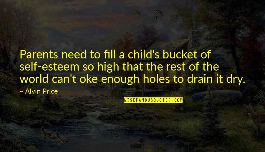 High Self Esteem Quotes By Alvin Price: Parents need to fill a child's bucket of
