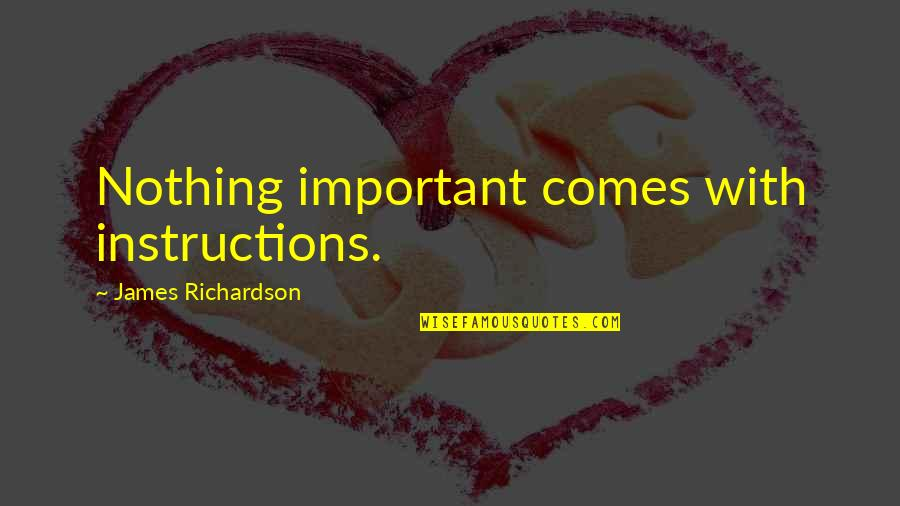 Hikmet Quotes By James Richardson: Nothing important comes with instructions.