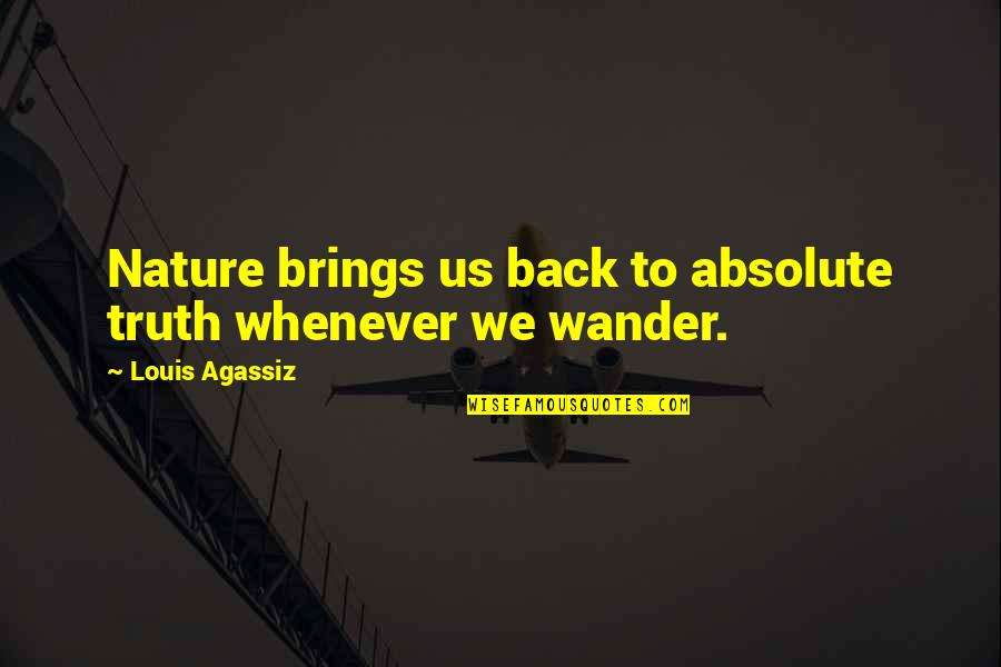 Hikmet Quotes By Louis Agassiz: Nature brings us back to absolute truth whenever