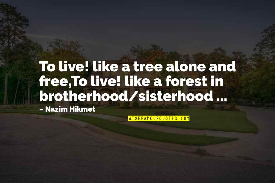 Hikmet Quotes By Nazim Hikmet: To live! like a tree alone and free,To