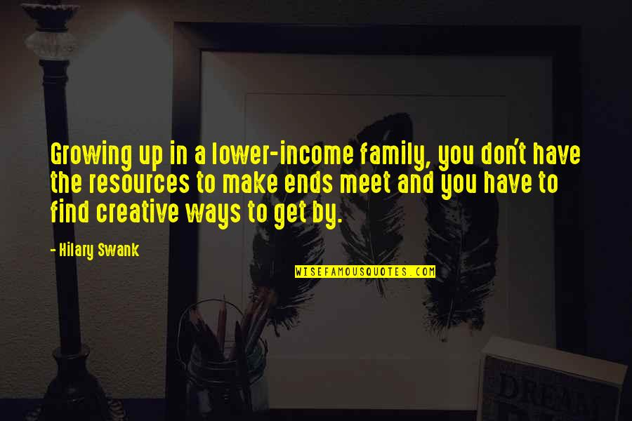 Hilary Swank You're Not You Quotes By Hilary Swank: Growing up in a lower-income family, you don't