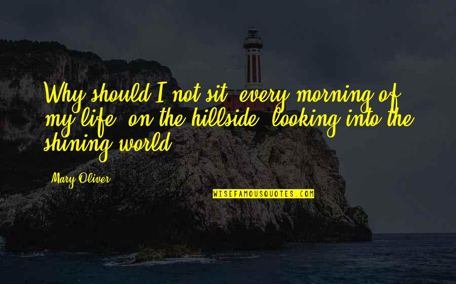 Hillside Quotes By Mary Oliver: Why should I not sit, every morning of