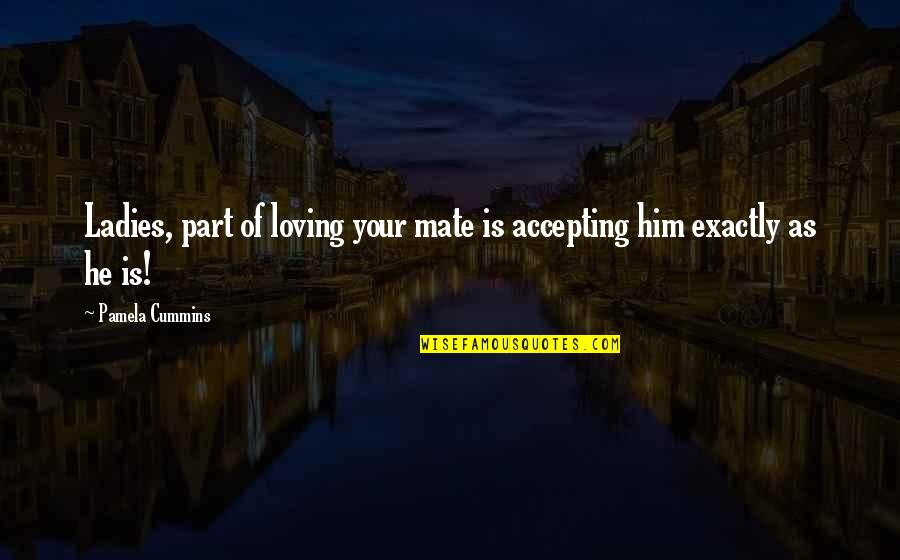 Him Not Loving You Quotes By Pamela Cummins: Ladies, part of loving your mate is accepting