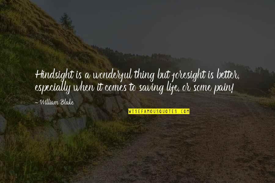 Hindsight And Foresight Quotes By William Blake: Hindsight is a wonderful thing but foresight is