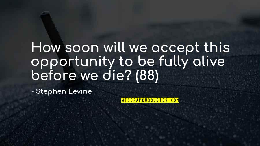 Hipper Quotes By Stephen Levine: How soon will we accept this opportunity to