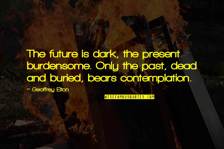 History And The Past Quotes By Geoffrey Elton: The future is dark, the present burdensome. Only