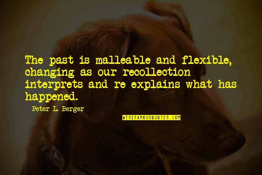 History And The Past Quotes By Peter L. Berger: The past is malleable and flexible, changing as