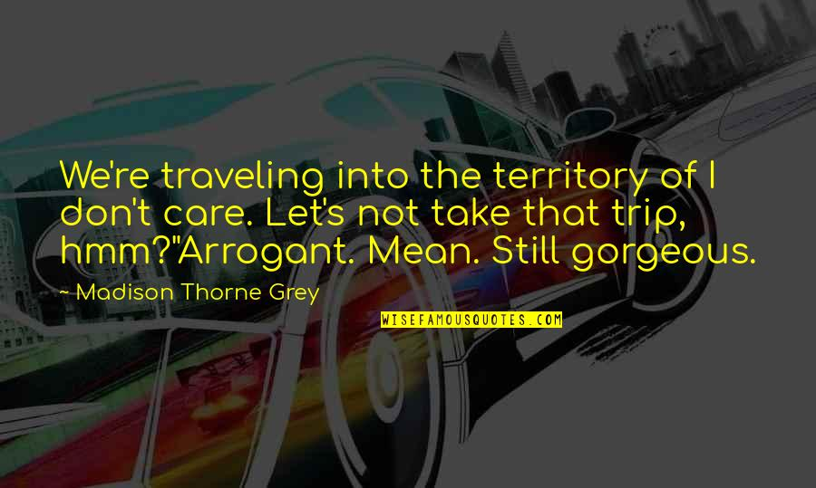 Hmm Quotes By Madison Thorne Grey: We're traveling into the territory of I don't