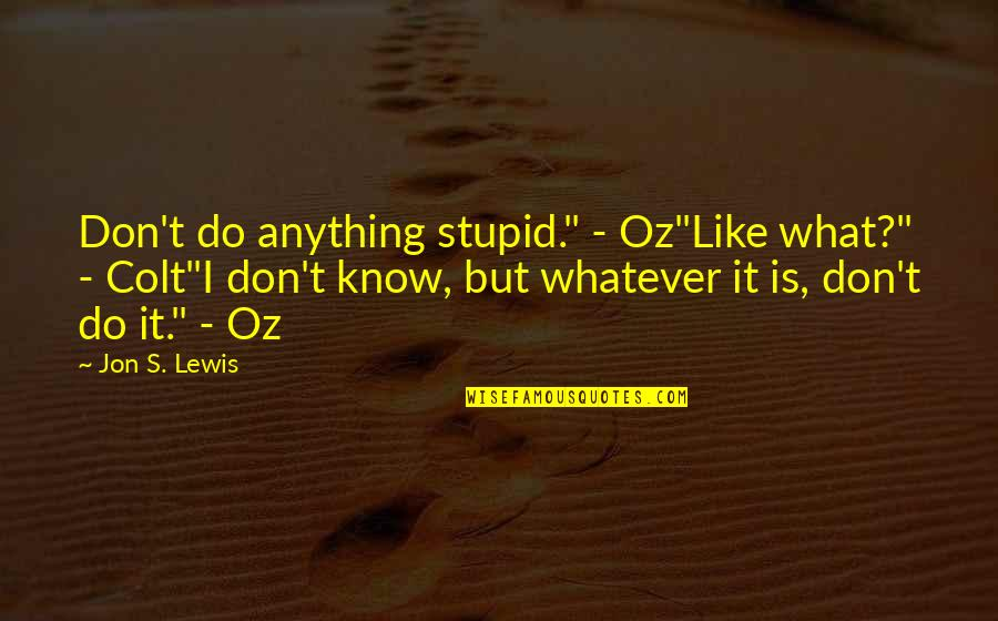 """Hockey Playoff Quotes By Jon S. Lewis: Don't do anything stupid."""" - Oz""""Like what?"""" -"""