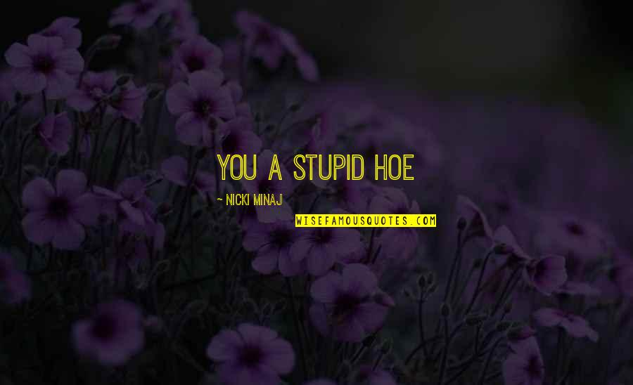 Hoe Quotes By Nicki Minaj: You a stupid hoe