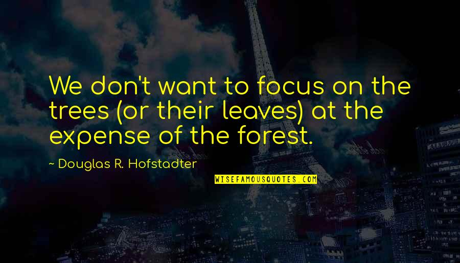 Hofstadter Douglas Quotes By Douglas R. Hofstadter: We don't want to focus on the trees