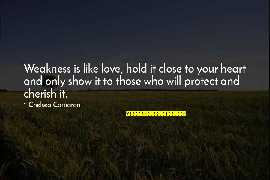 Hold Onto Your Heart Quotes By Chelsea Camaron: Weakness is like love, hold it close to