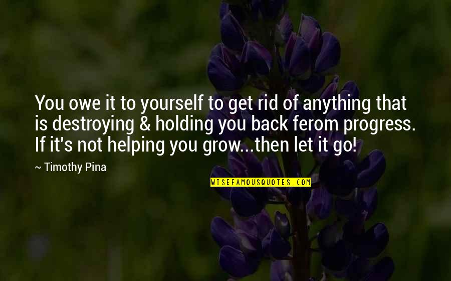 Holding Yourself Back Quotes By Timothy Pina: You owe it to yourself to get rid