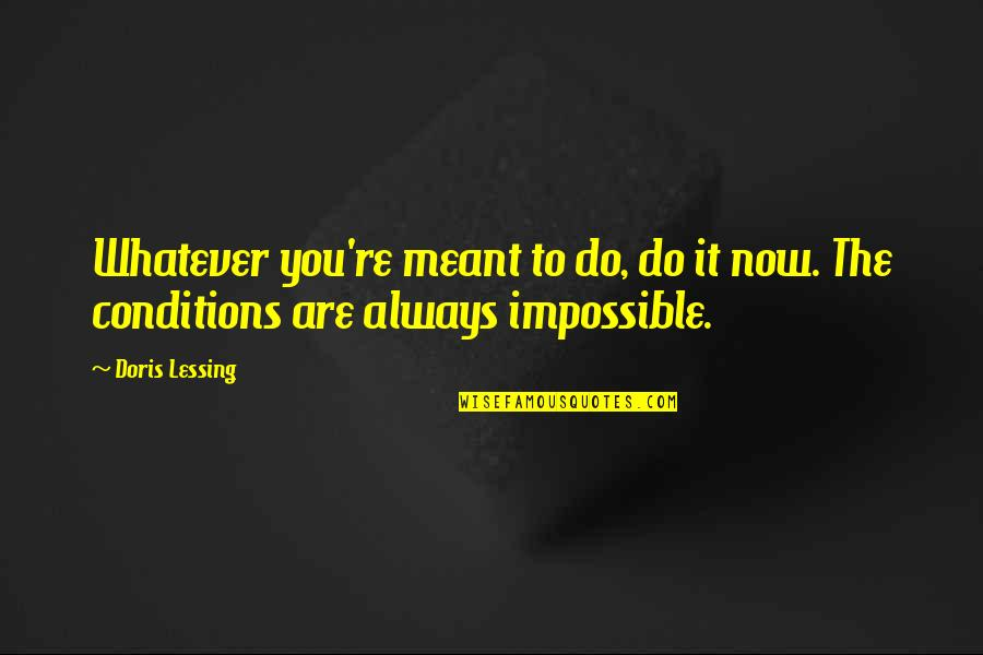 Holiday 1938 Quotes By Doris Lessing: Whatever you're meant to do, do it now.