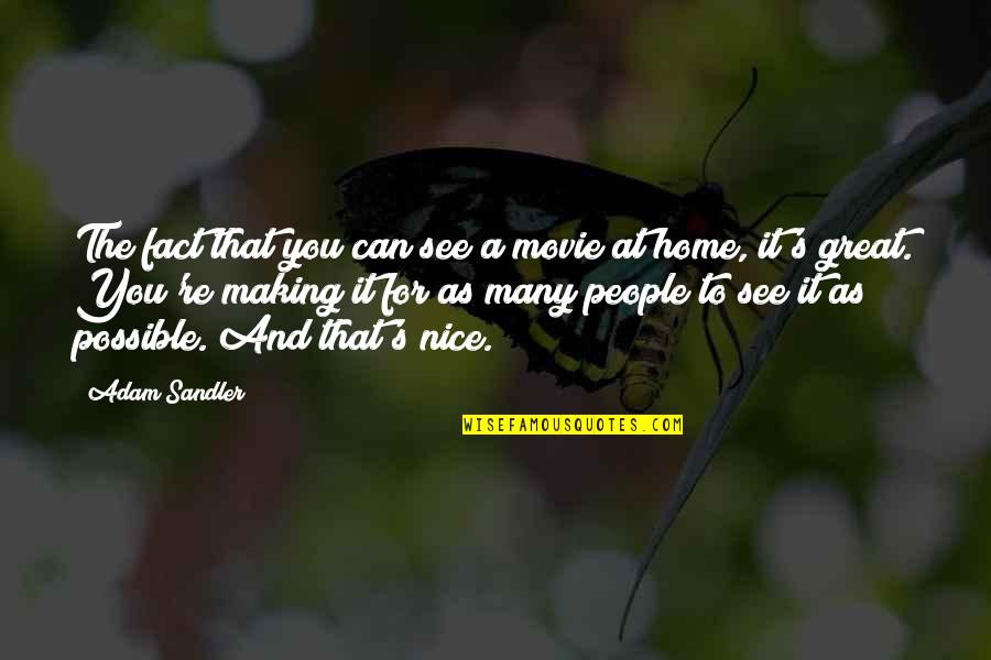 Home And Quotes By Adam Sandler: The fact that you can see a movie