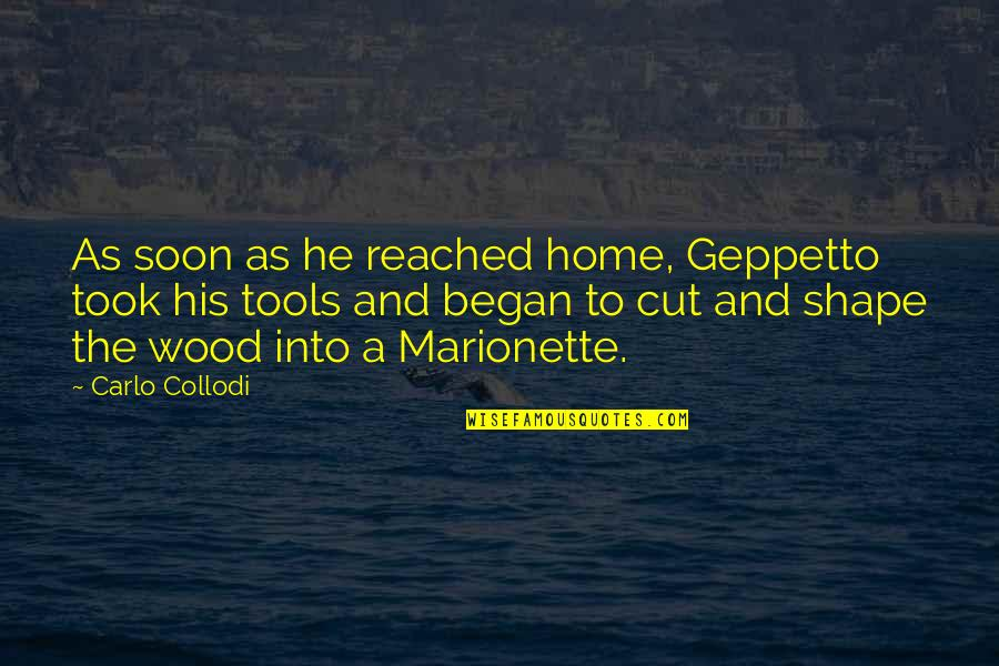 Home And Quotes By Carlo Collodi: As soon as he reached home, Geppetto took