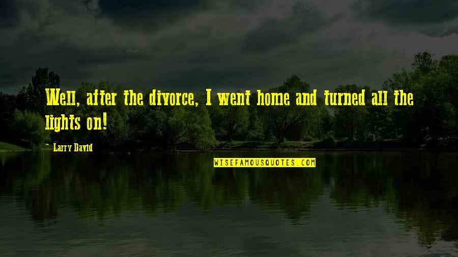 Home And Quotes By Larry David: Well, after the divorce, I went home and