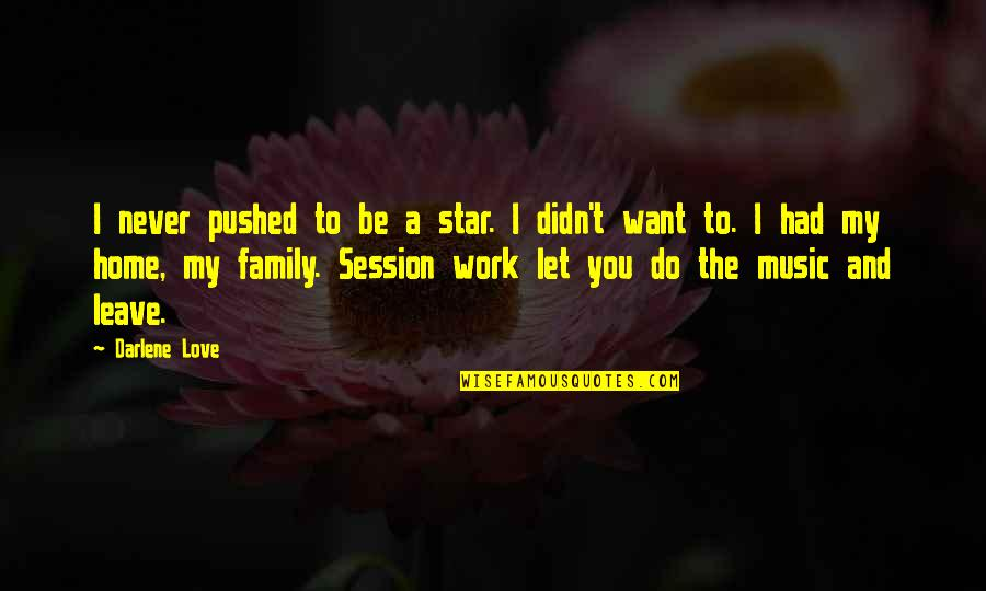 Home And Work Quotes By Darlene Love: I never pushed to be a star. I
