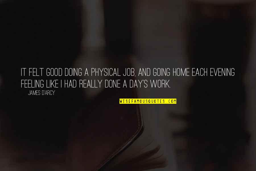 Home And Work Quotes By James D'arcy: It felt good doing a physical job, and