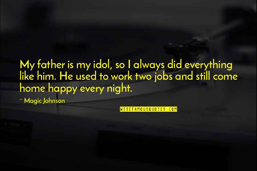 Home And Work Quotes By Magic Johnson: My father is my idol, so I always