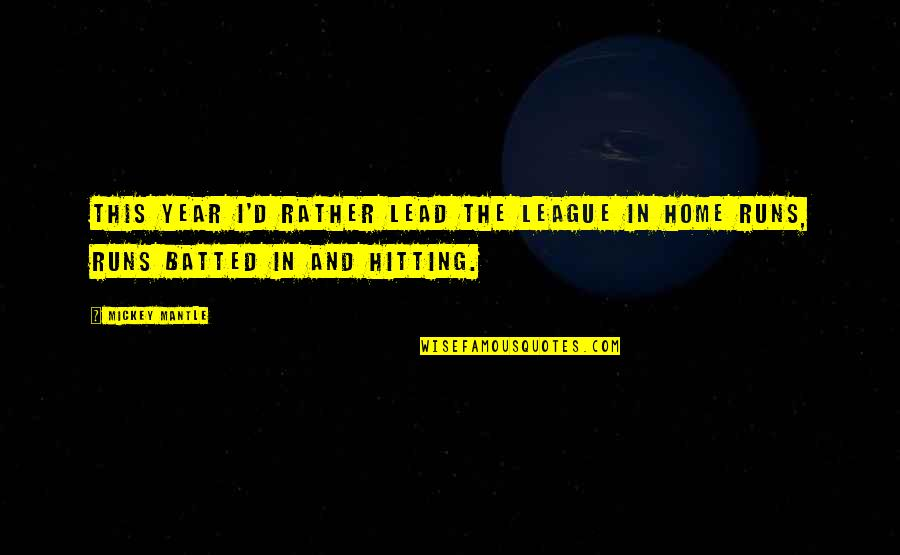 Home Runs Quotes By Mickey Mantle: This year I'd rather lead the league in