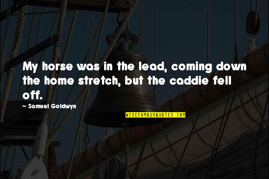 Home Stretch Quotes By Samuel Goldwyn: My horse was in the lead, coming down