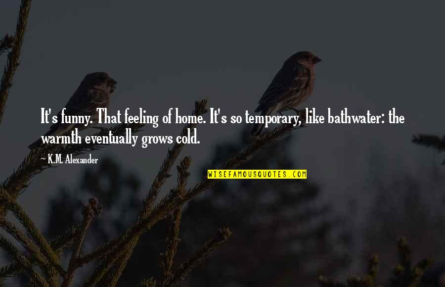 Home Warmth Quotes By K.M. Alexander: It's funny. That feeling of home. It's so