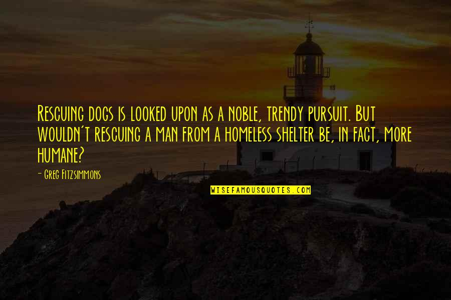 Homeless Dogs Quotes By Greg Fitzsimmons: Rescuing dogs is looked upon as a noble,