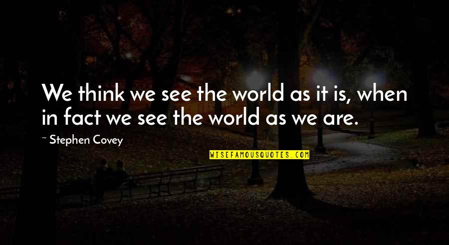 Homemade Cookies Quotes By Stephen Covey: We think we see the world as it