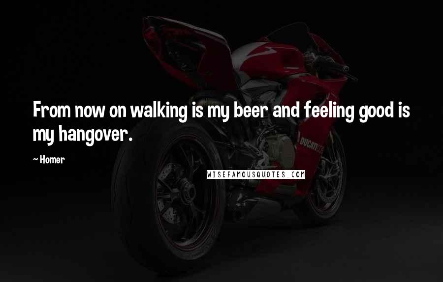 Homer quotes: From now on walking is my beer and feeling good is my hangover.