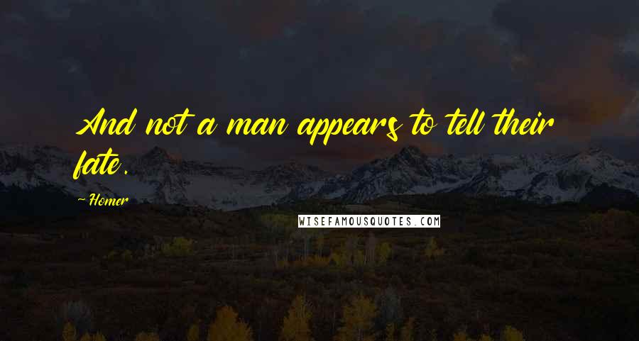 Homer quotes: And not a man appears to tell their fate.