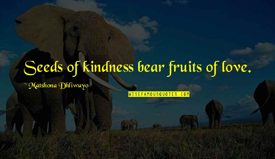 Homers Quotes By Matshona Dhliwayo: Seeds of kindness bear fruits of love.