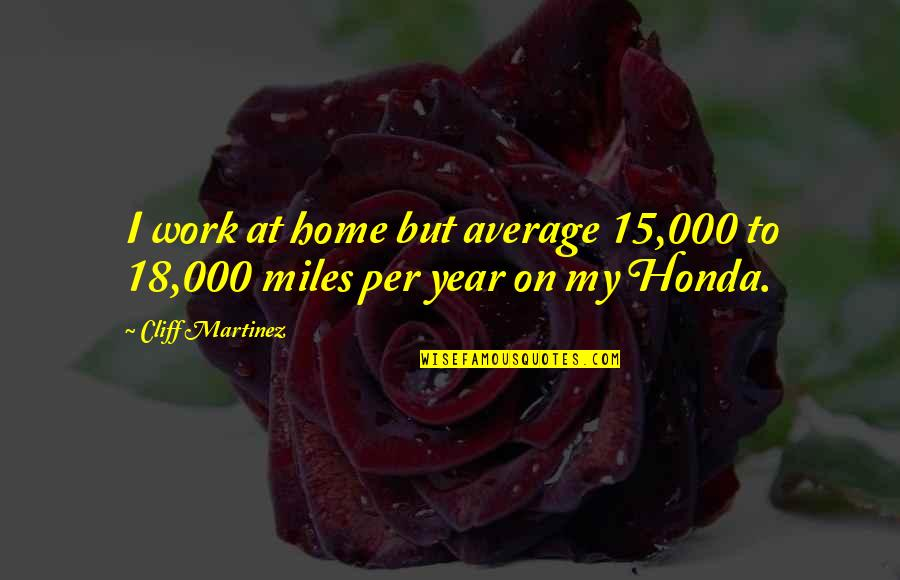 Honda Quotes By Cliff Martinez: I work at home but average 15,000 to