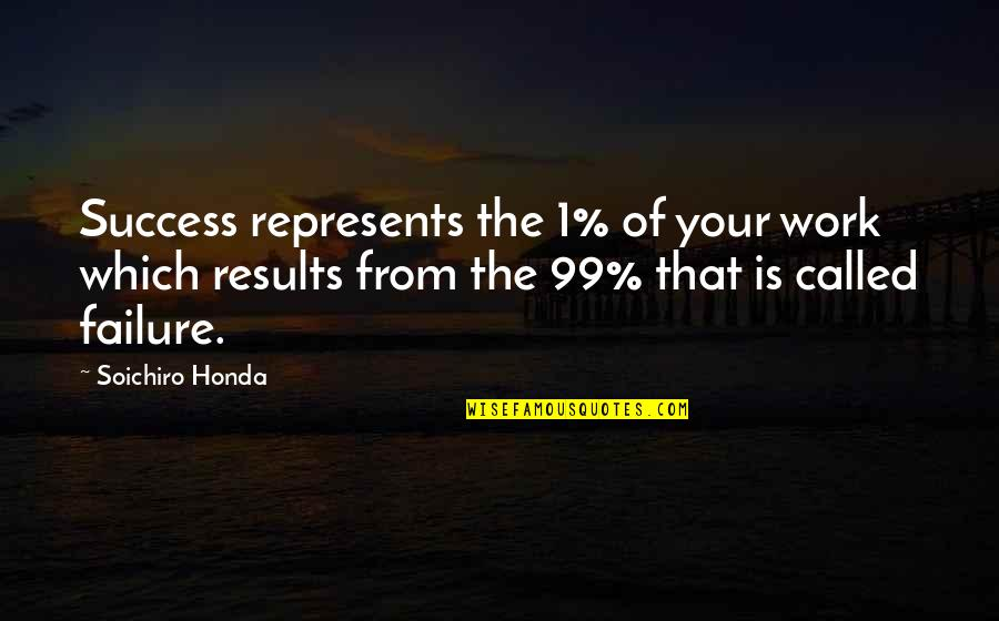 Honda Quotes By Soichiro Honda: Success represents the 1% of your work which