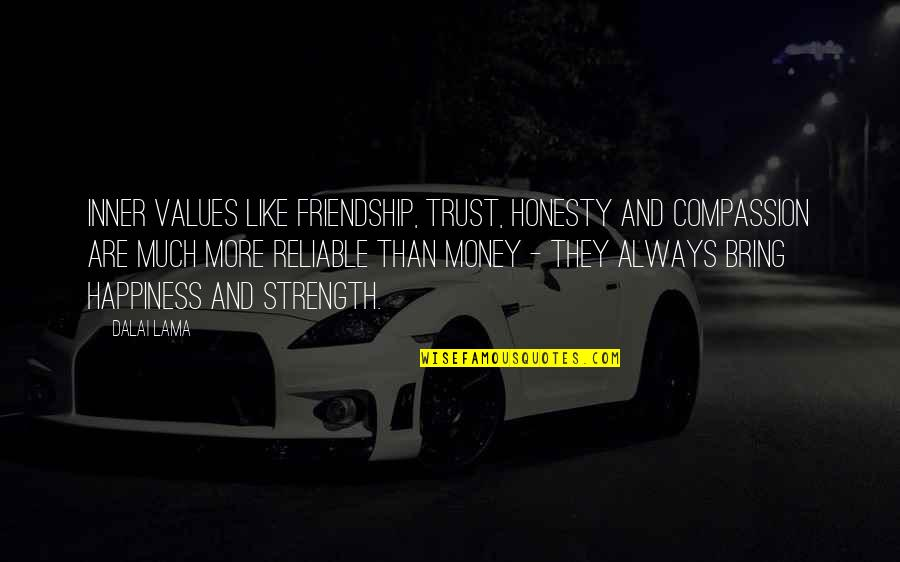 Honesty And Money Quotes By Dalai Lama: Inner values like friendship, trust, honesty and compassion