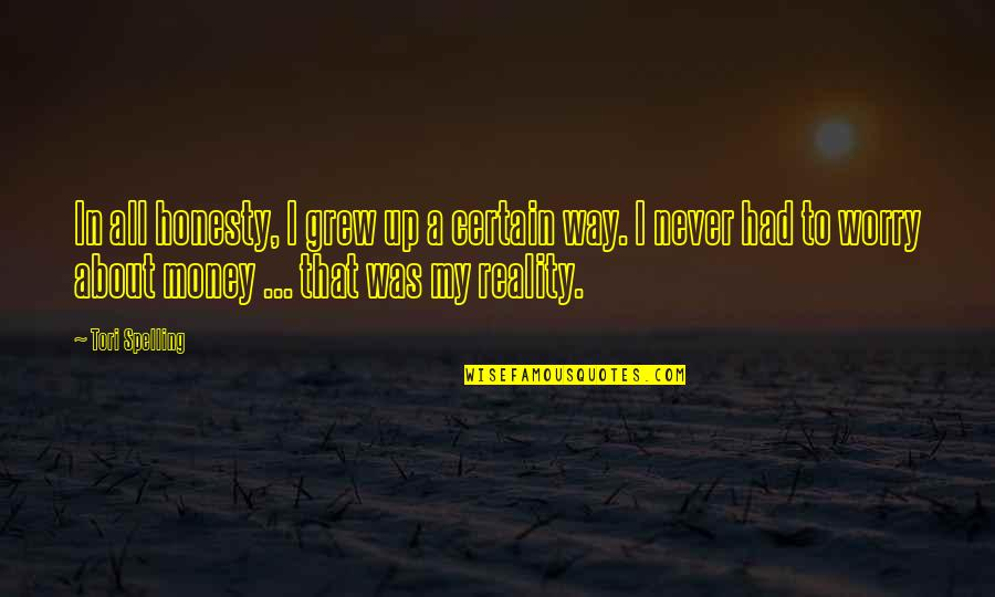 Honesty And Money Quotes By Tori Spelling: In all honesty, I grew up a certain