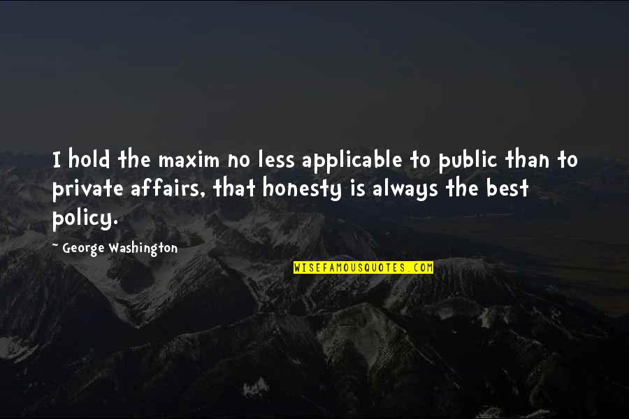Honesty Is The Best Policy Quotes By George Washington: I hold the maxim no less applicable to