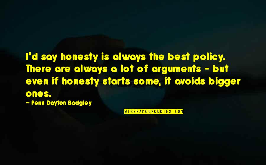 Honesty Is The Best Policy Quotes By Penn Dayton Badgley: I'd say honesty is always the best policy.