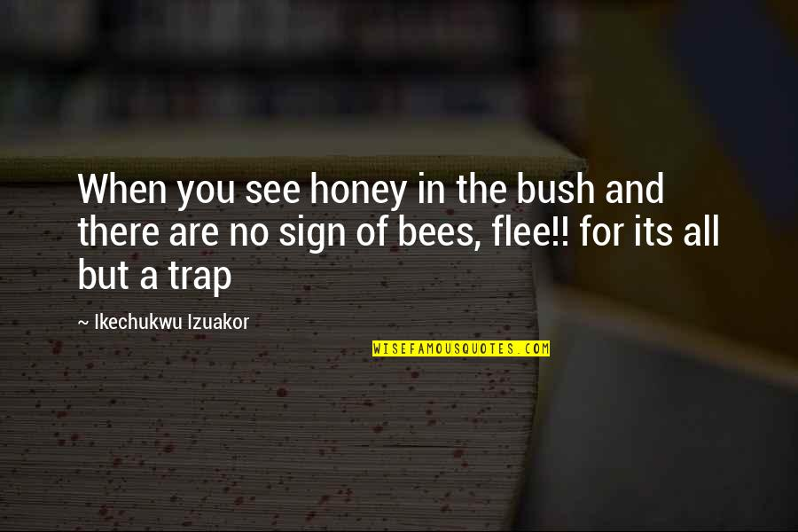 Honey Bees Quotes By Ikechukwu Izuakor: When you see honey in the bush and