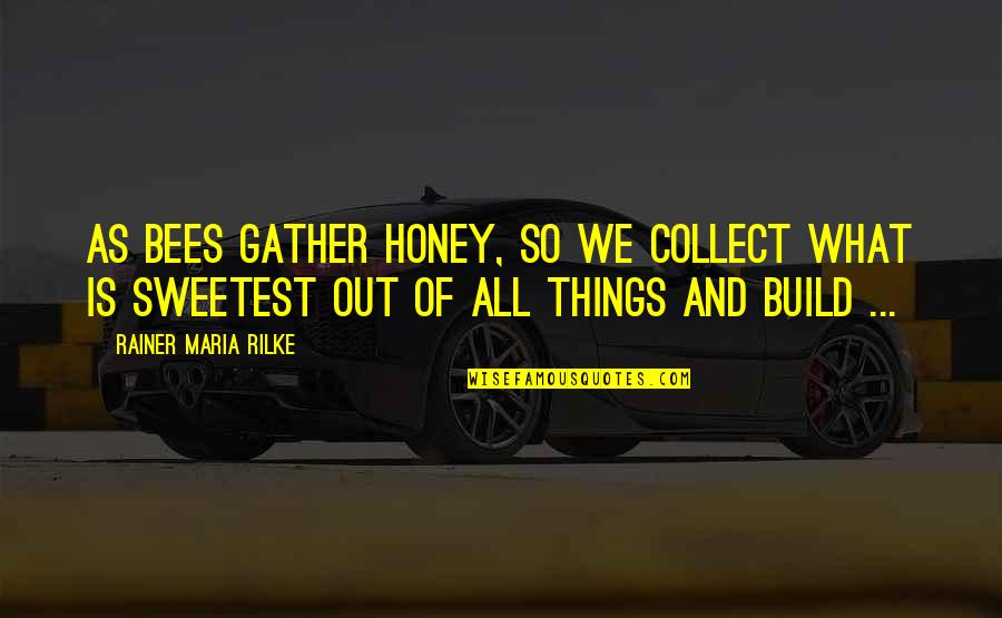 Honey Bees Quotes By Rainer Maria Rilke: As bees gather honey, so we collect what
