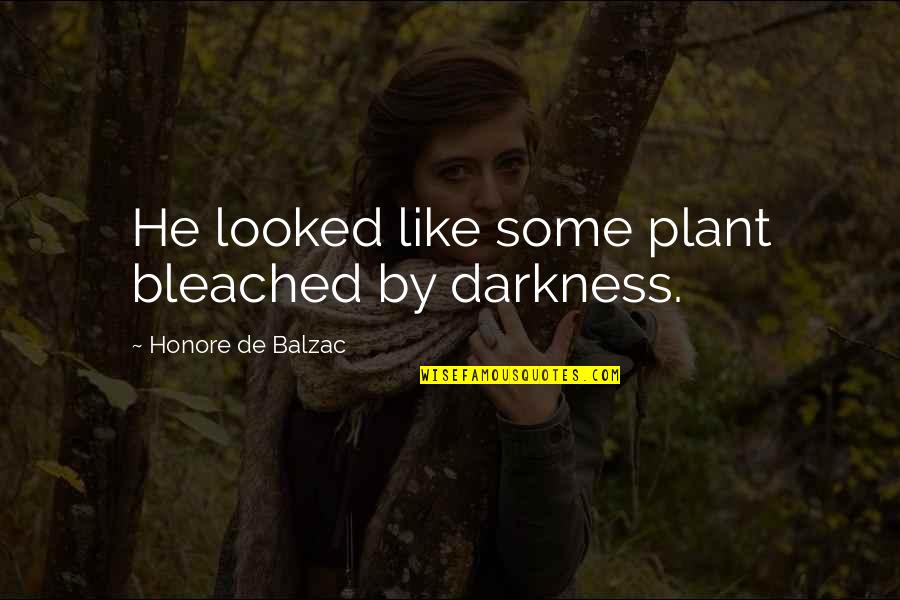 Honore De Balzac Quotes By Honore De Balzac: He looked like some plant bleached by darkness.