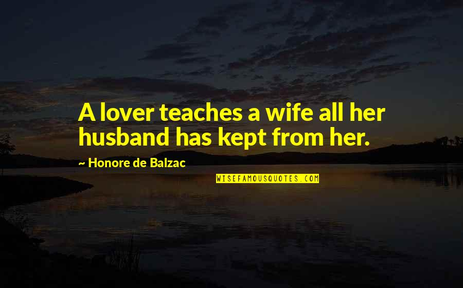 Honore De Balzac Quotes By Honore De Balzac: A lover teaches a wife all her husband