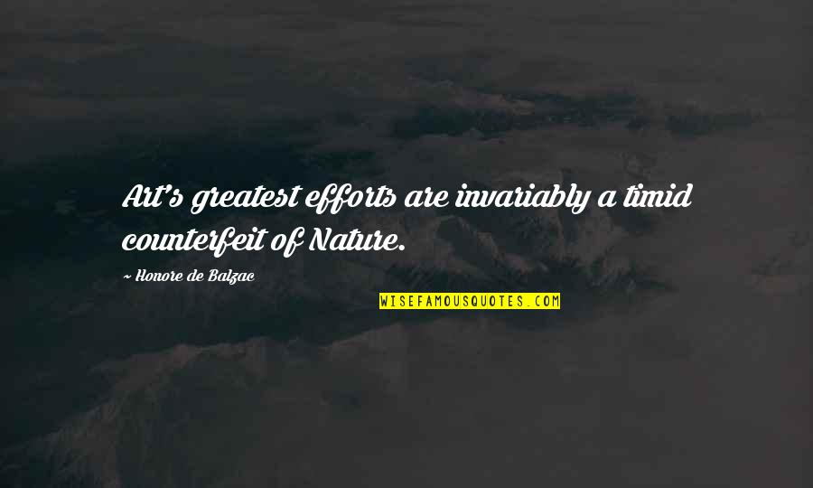 Honore De Balzac Quotes By Honore De Balzac: Art's greatest efforts are invariably a timid counterfeit