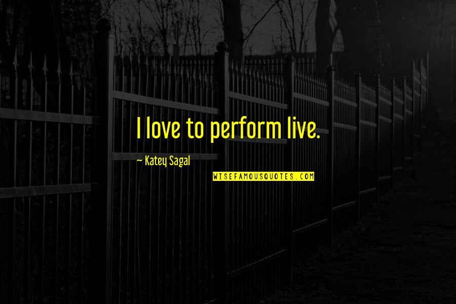 Hooped Quotes By Katey Sagal: I love to perform live.