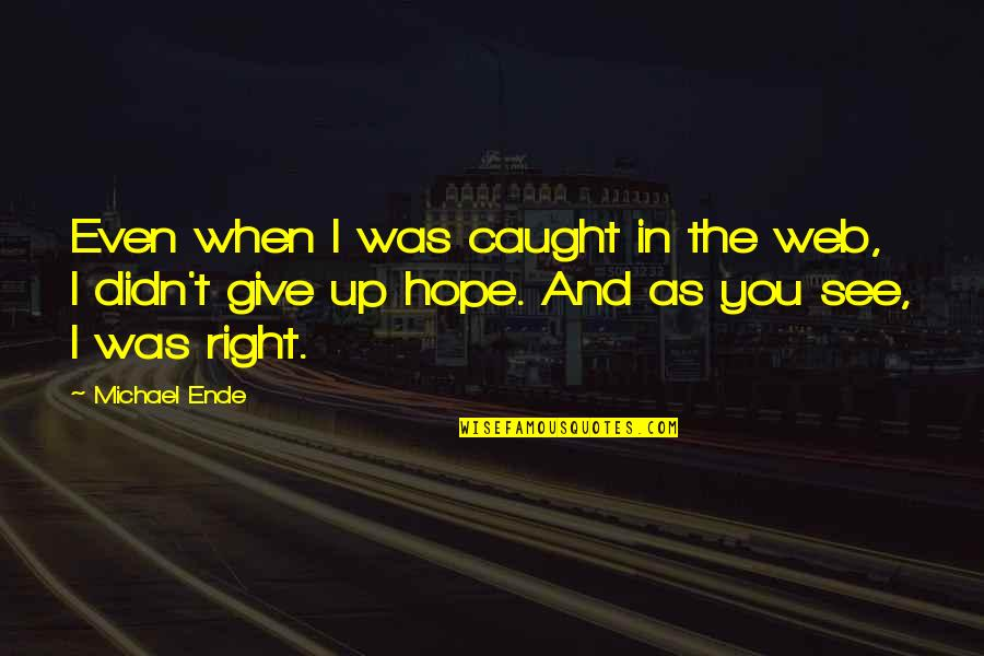 Hope And Optimism Quotes By Michael Ende: Even when I was caught in the web,