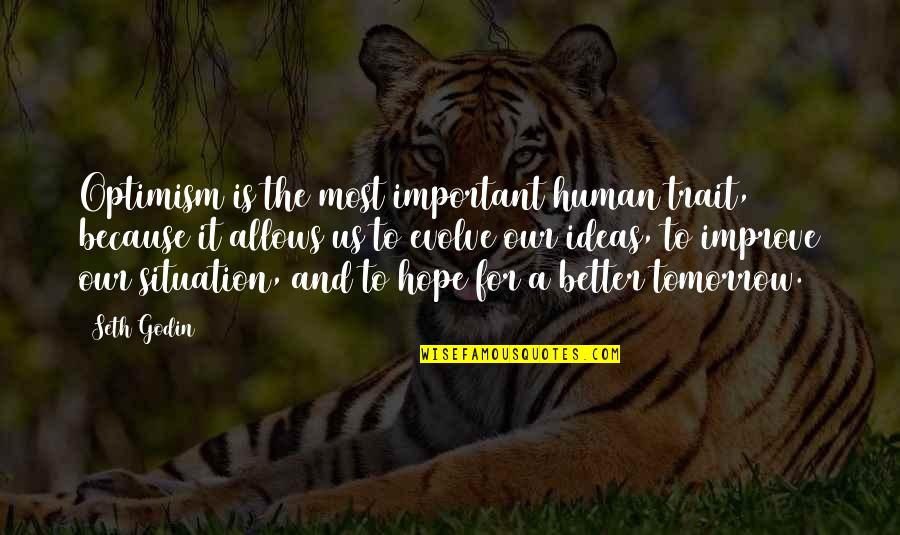 Hope And Optimism Quotes By Seth Godin: Optimism is the most important human trait, because