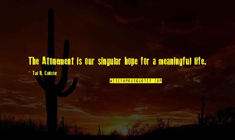 Hope For Life Quotes By Tad R. Callister: The Atonement is our singular hope for a