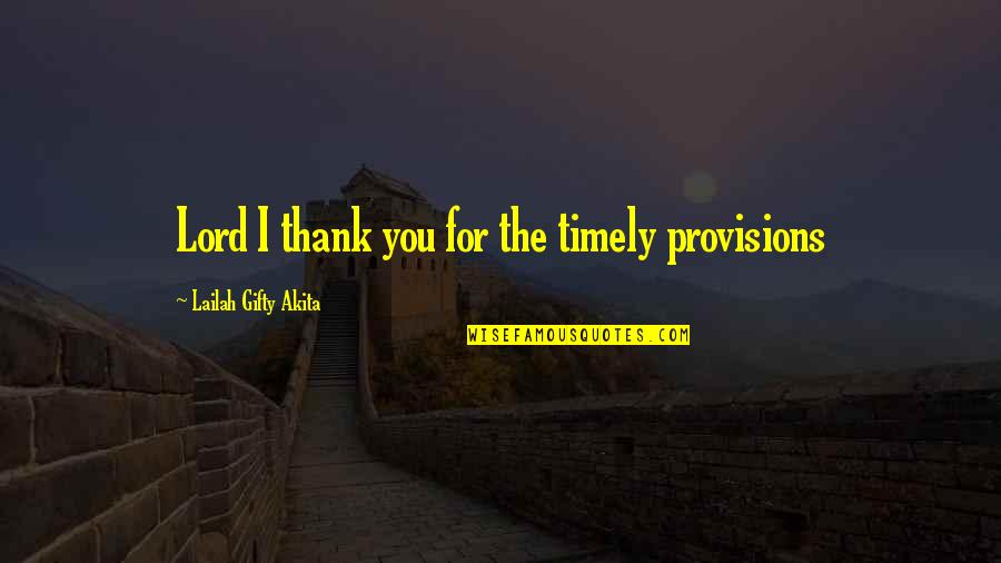 Hope In The Lord Quotes By Lailah Gifty Akita: Lord I thank you for the timely provisions