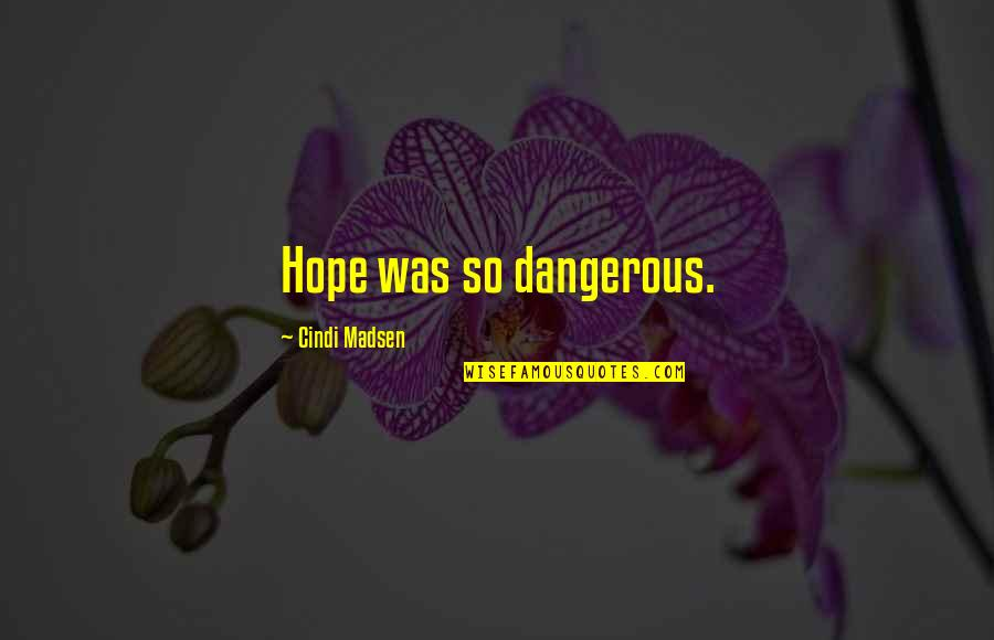 Hope Is Dangerous Quotes By Cindi Madsen: Hope was so dangerous.